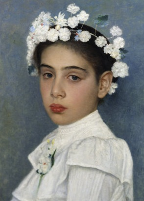 Girl with flowers in her hair (WIkimedia)