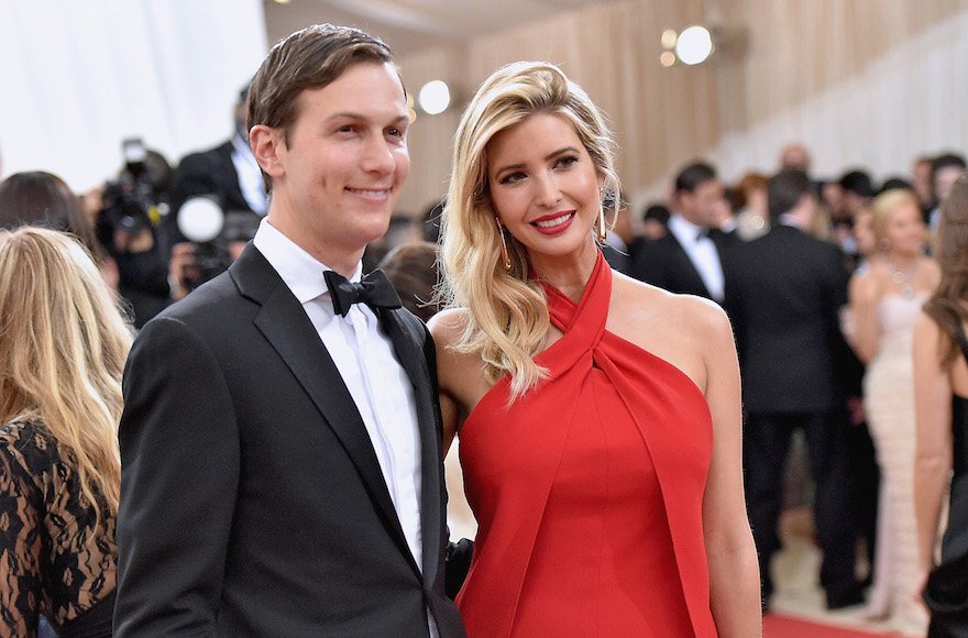 """Jared Kushner and wife Ivanka Trump attend the """"Manus x Machina: Fashion In An Age Of Technology"""" Costume Institute Gala at Metropolitan Museum of Art on May 2, 2016 in New York City. (Mike Coppola/Getty Images for People.com/ via JTA)"""