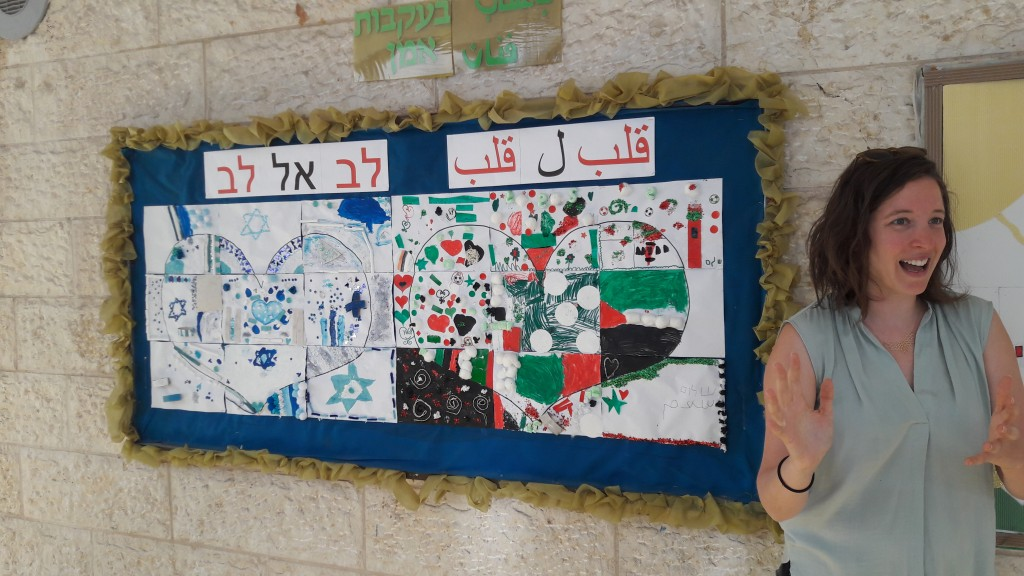 Children's artwork on Israeli and Palestinian nationhood displayed at the Hand in Hand School, Jerusalem. Credit Rob Thompson