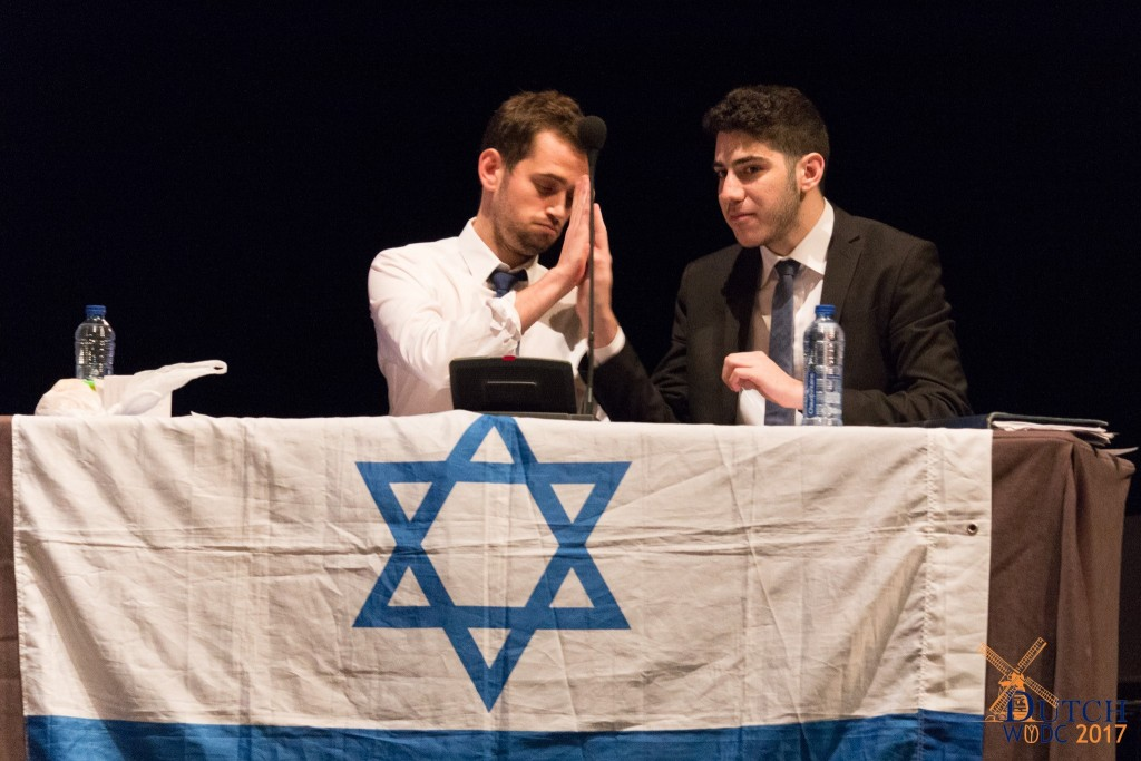 Noam Dahan and Tom Manor on their way to victory in the World University Debating Championships in The Hague, January 2017