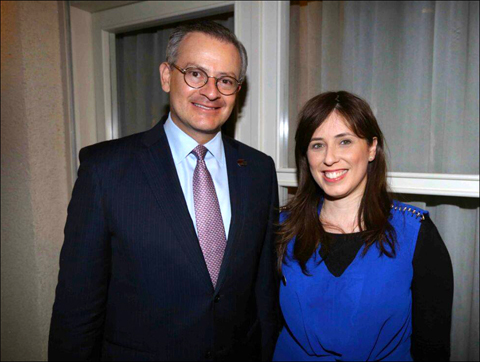 Manuel González Sanz, foreign minister of Costa Rica, meets with Tzipi Hotovely, Israel's deputy minister of foreign affairs, at a May 16 reception for González at Tel Aviv's Norman Hotel. Photo: Larry Luxner