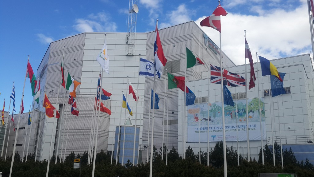 Fig 2. Tampere Hall, flags of participating countries