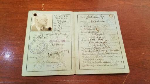 Refugee Identification Card of the late Ze'ev Jabotinsky
