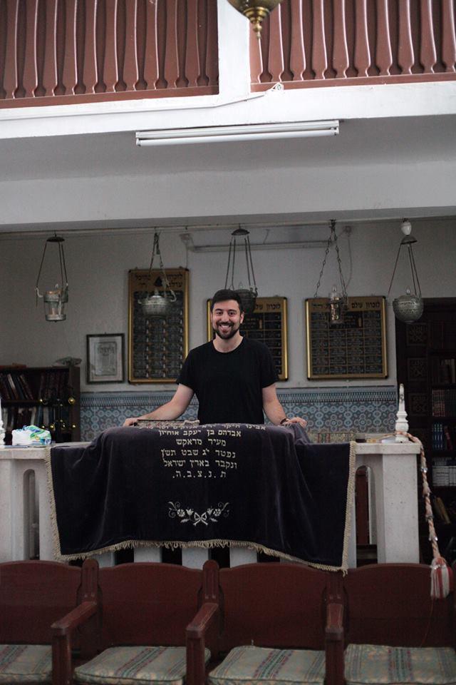 Rabbi Simeon Cohen at the Lazama Synagogue, Marrakesh