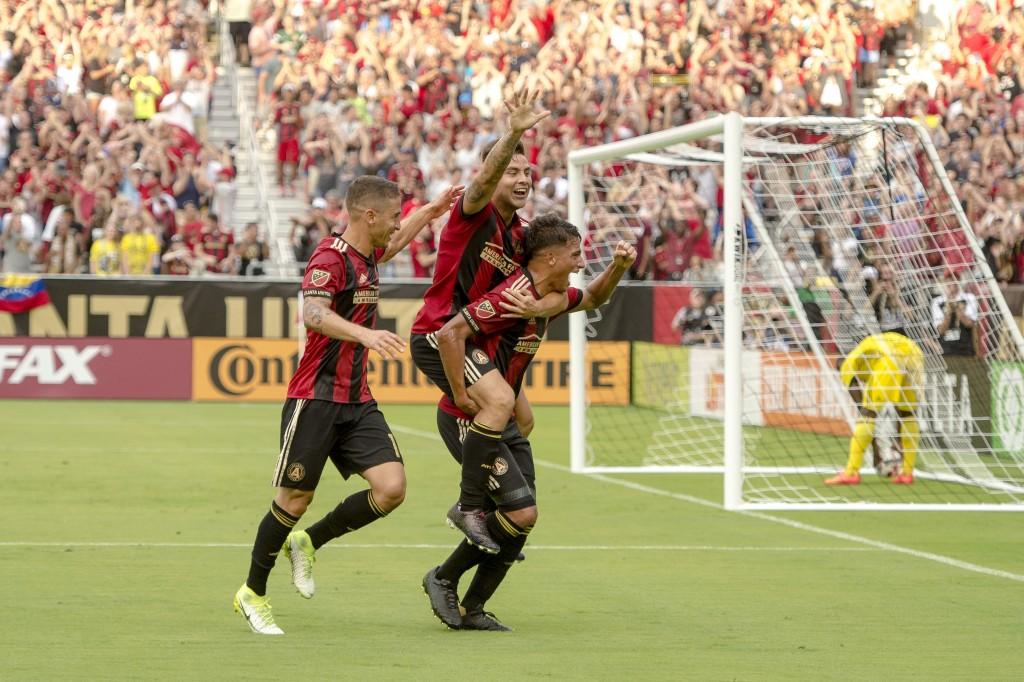 Tito Villalba celebrates scoring the first goal the match against Columbus Crew FC on Sunday, June 18