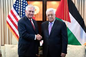 """""""The First Handshake"""" Secretary of State Tillerson with PA leader Mahmoud Abbas"""