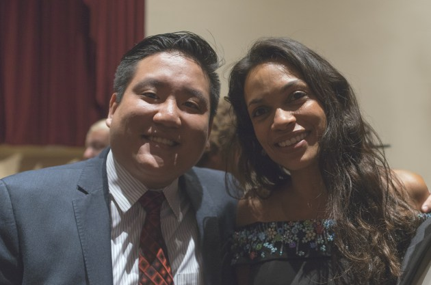 Broadway Stages General Counsel Anthony Fong with Rosario Dawson