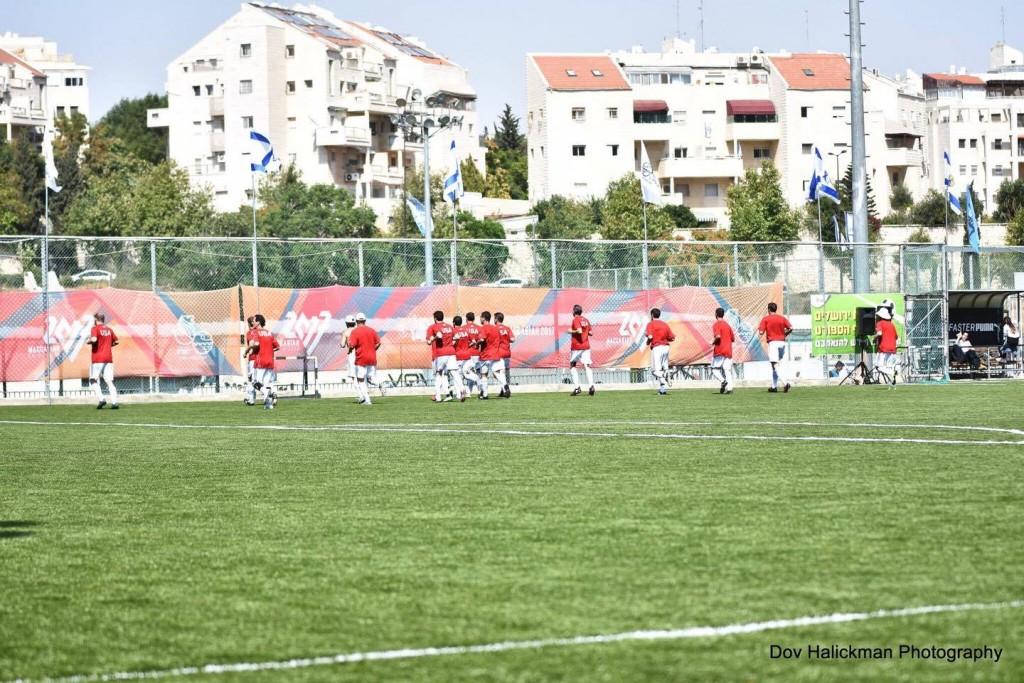 The USA Masters Maccabiah soccer players at Bayit Vegan stadium last week. Photo by Dov Halickman