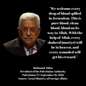 "PA President Abbas: ""We welcome every drop of blood spilled in Jerusalem...every wounded will get his reward"""