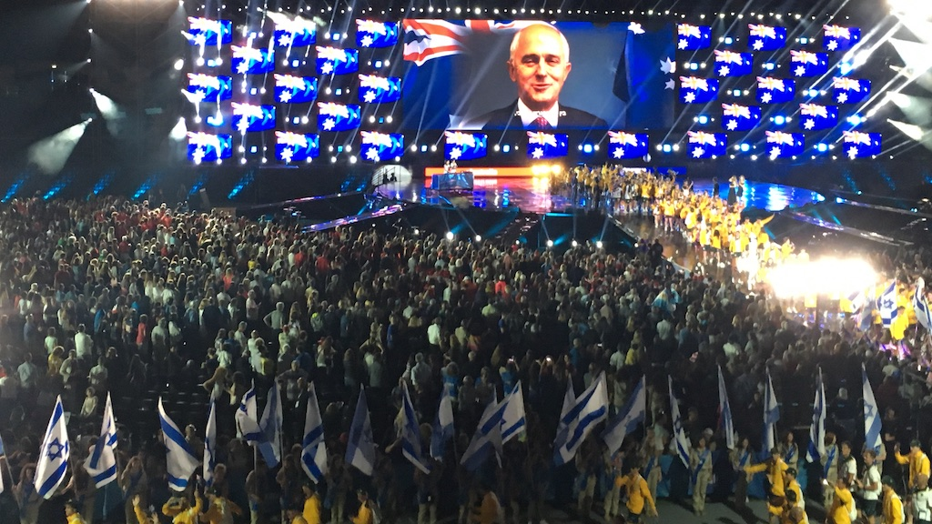 Australian Prime Minister Malcolm Turnbull sending a personal message to the 580 Australian Maccabiah athletes at the opening ceremony of the 20th Maccabian Games.
