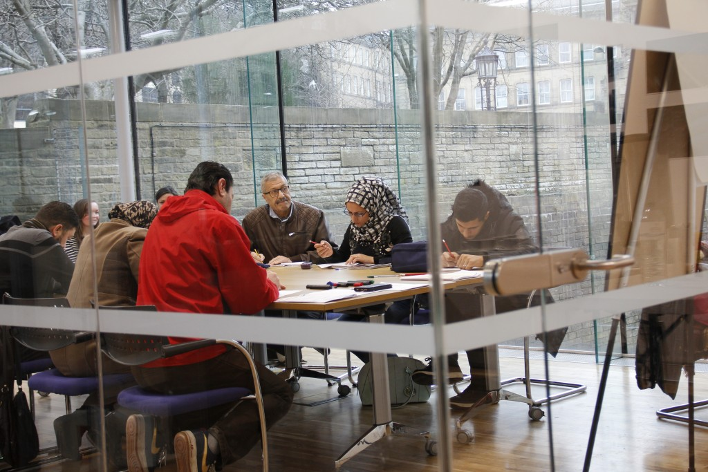 Students in one of the English classes.