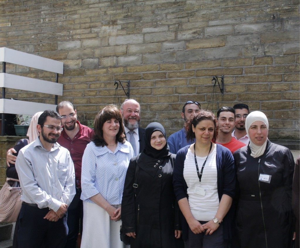 Group shot of students and teachers during Chief Rabbi visit