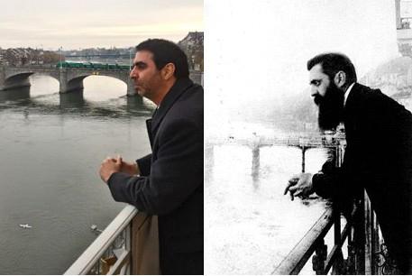 Foto tirada na mesma sacada do mesmo quarto do mesmo hotel (Le Trois Rois) que Herzl se hospedou em Basileia na Suíça durante o primeiro Congresso Sionista Mundial, há 120 anos atrás.