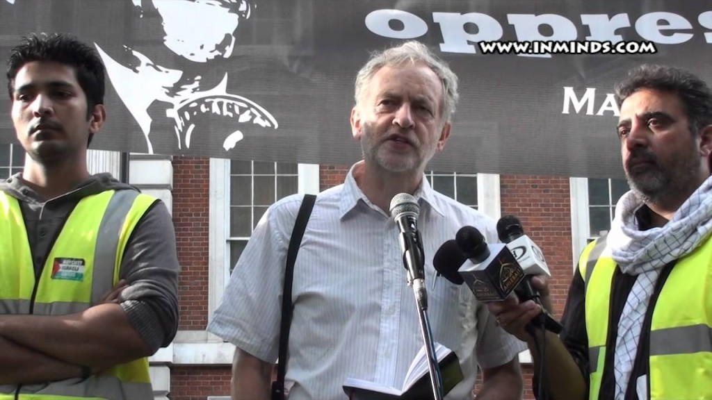 A picture from the 2012 al-Quds Day speech given by Jeremy Corbyn