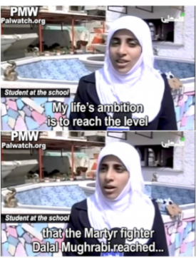 "Palestinian girl's goal: ""to reach level"" of terrorist who killed 37 people and who her school is named after. Official PA TV, March 27, 2014. Source: PMW"