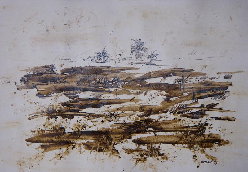 ERWÉ,'Misty swamp', acryl, 45x30cm,9-8-2017