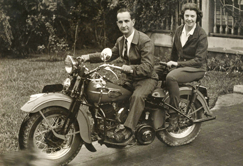 """Costa Rican President José """"Pepe"""" Figueres and his wife, Henrietta Boggs, ride a Harley-Davidson motorcycle in San José. Photo courtesy of Andrea Kalin"""