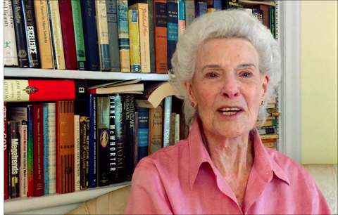 """Henrietta Boggs, 99, introduces Andrea Kalin's documentary, """"First Lady of the Revolution,"""" in a recorded message to the people of Israel."""