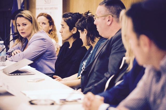 MK Ksenia Svetlova speaks on a panel with Yazidi survivor Nadia Murad on July 24, 2017 (photo credit: Mickey Noam-Alon/IsraAID)