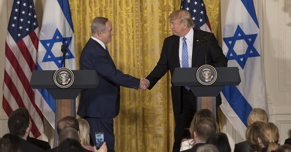 President Donald Trump and Israeli Prime Minister Benjamin Netanyahu shake hands during their joint press conference, Wednesday, Feb. 15, 2017, in the East Room of the White House in Washington, D.C. (Official White House Photo by Benjamin D. Applebaum)