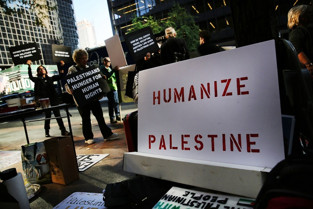 Pro-Palestinian protesters in New York City, October 6, 2014. (Spencer Platt/Getty Images)