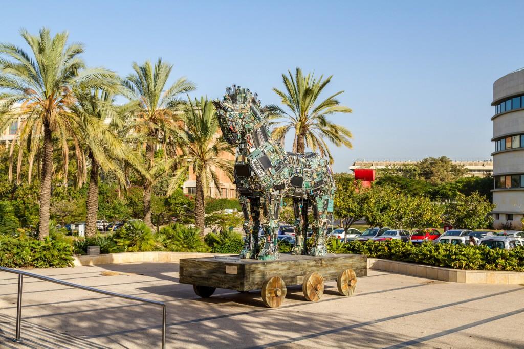 TEL AVIV ISRAEL - DECEMBER 5: Cyber Horse sculpture of Trojan horse at Tel Aviv University Israel on December 5 2016