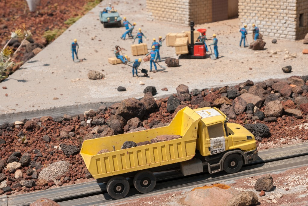 Miniature of buildings construction at Mini Israel - a miniature park located near Latrun