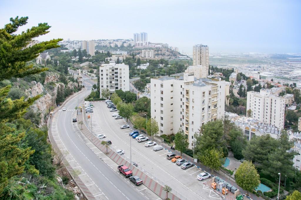 Bird eye view of the Haifa Technion - at the Carmel mountains. The Haifa Bay from Nesher