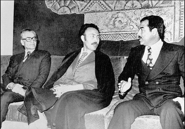 Mohammad Reza Pahlavi, Houari Boumediène and Saddam Hussein in Algeria at 1975 for register 1975 Algiers Agreement.