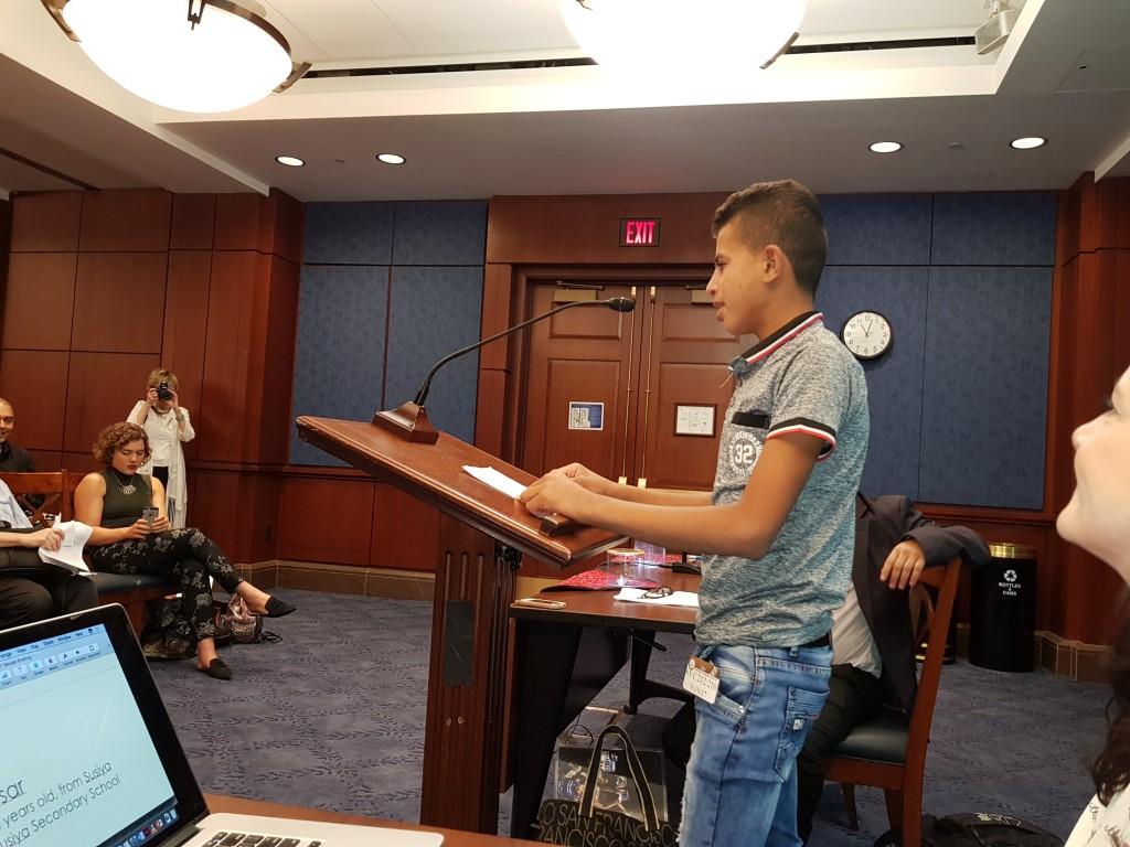 15 year old Aysar Nawaja at U.S. Senate briefing