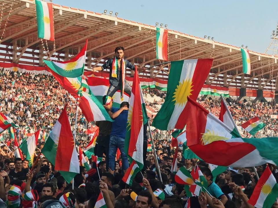 People celebrate to support Kurdistan Independence Referendum, Zakho Stadium/Kurdistan Region