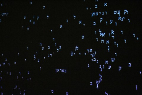 On display at the Ghetto Fighters Museum north of Akko, Israel, is this piece of video art by Romy Achituv that commemorates the 4,500 places in Europe where Jews lived. Hebrew and English letters are projected onto a blank dark wall, constantly forming names which then break apart and float up toward the top. It is a surreal piece of art that symbolizes the breaking up of Jewish communities during the Holocaust. Photo: Larry Luxner