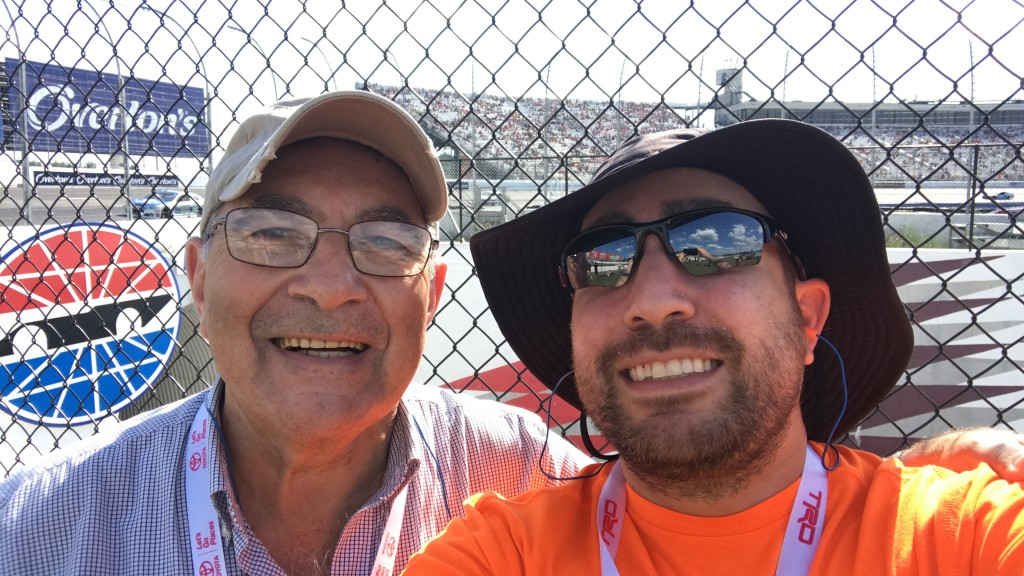 My dad Isaac and me at the NASCAR race in Loudon, NH