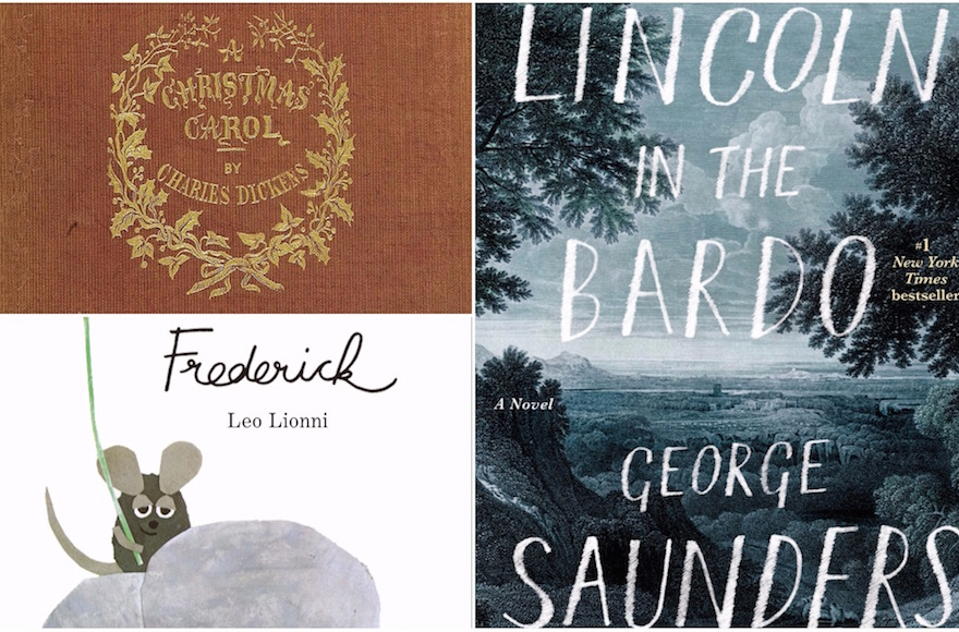 """Clockwise, from top left: """"A Christmas Carol"""" by Charles Dickens (Wikimedia Commons), """"Lincoln in the Bardo"""" by George Saunders and """"Frederick"""" by Leo Lionni (Penguin Random House)"""