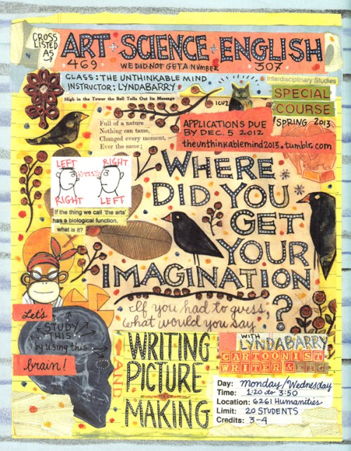 "Lynda Barry's ""Syllabus"" and a page from the book"