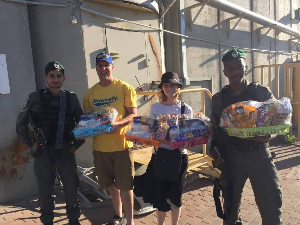 Delivering gift baskets to the soldiers protecting Kever Rachel