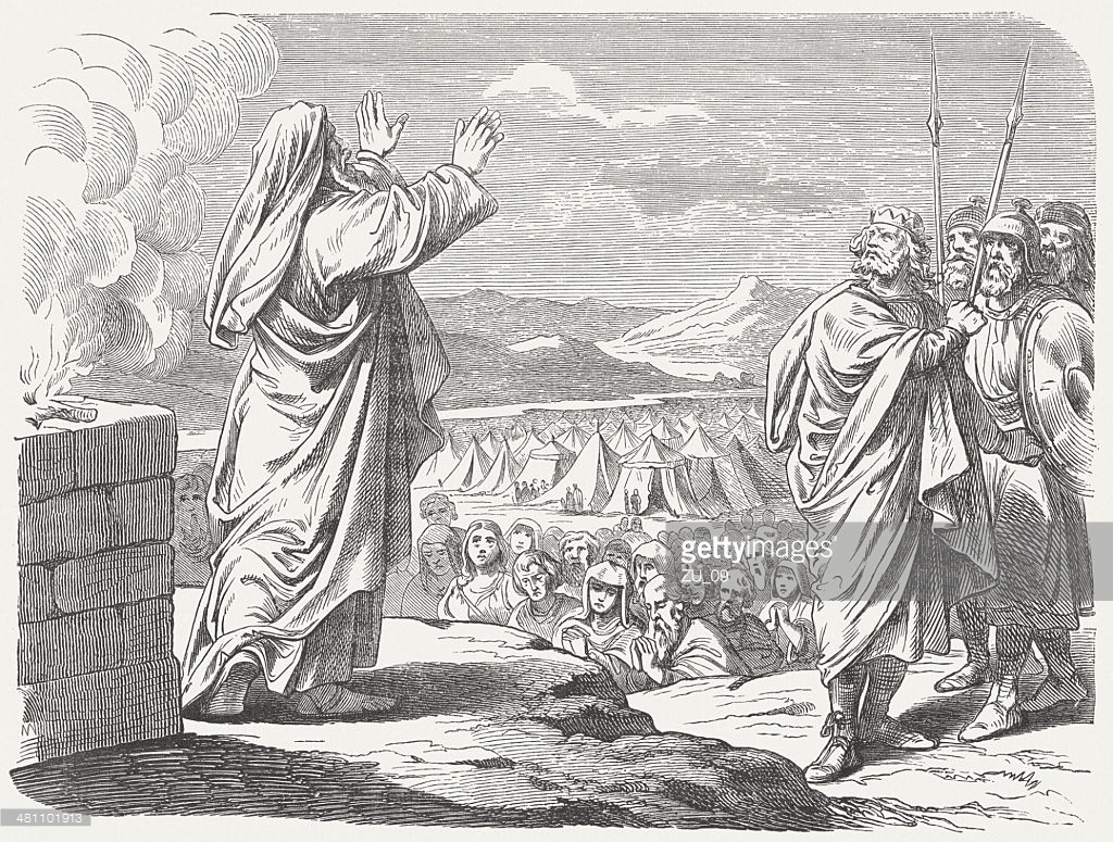 woodcut engraving of Balaam blessing Israel