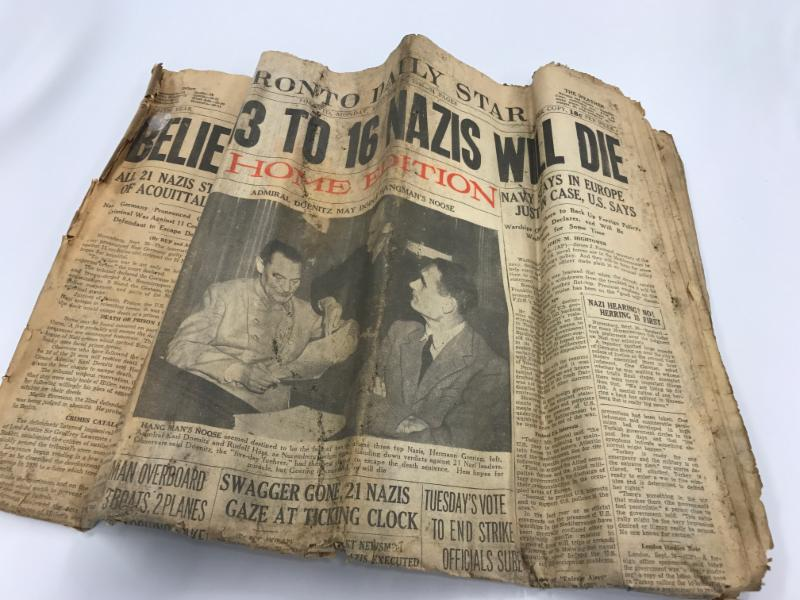 """Believe 13 to 16 Nazis Will Die"" in September 30, 1946 Toronto Daily Star."