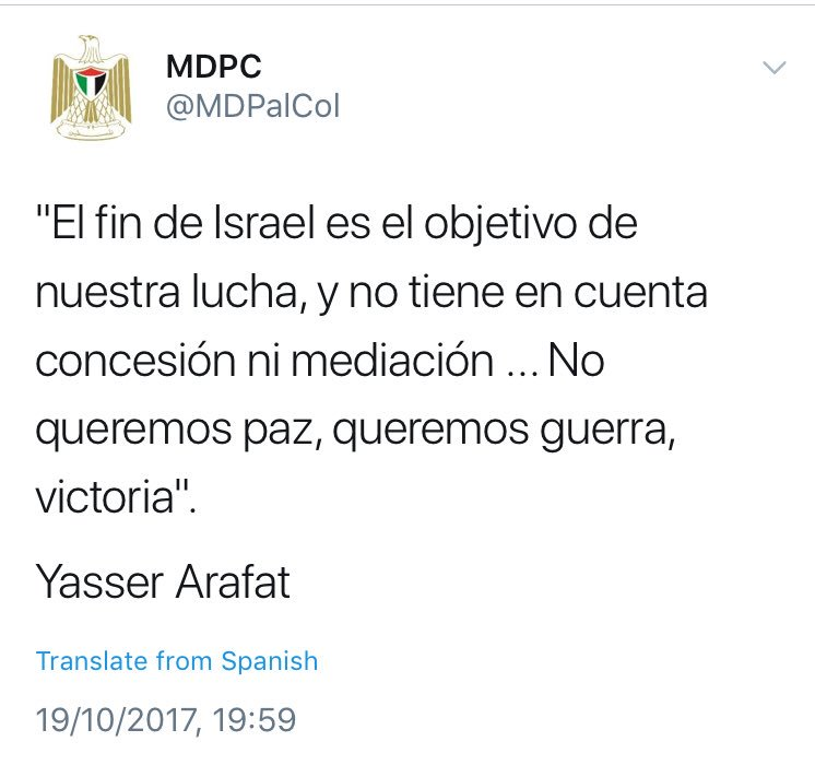 The Tweet coming from the official Twitter account of the Palestinian Diplomatic Mission in Colombia was erased shortly after it was made public.