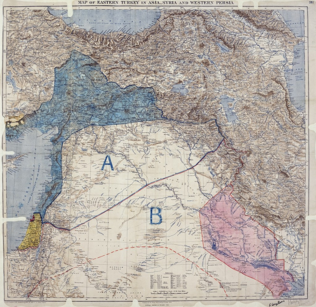Sykes-Picot division into spheres of influence.