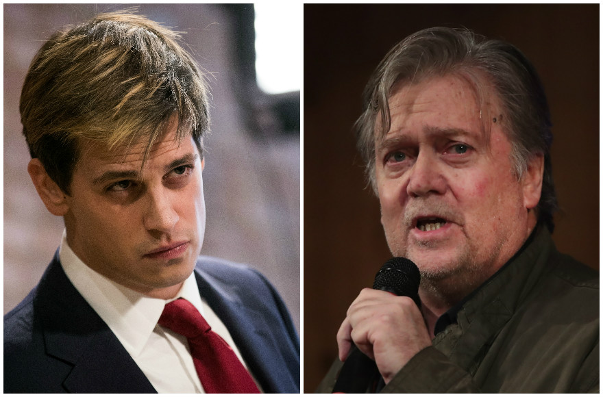 Milo Yiannopoulos, left, at a news conference in New York City, Feb. 21, 2017. (Drew Angerer/Getty Images), and Stephen Bannon speaking in Fairhope, Ala., Sept. 25, 2017. (Scott Olson/Getty Images)