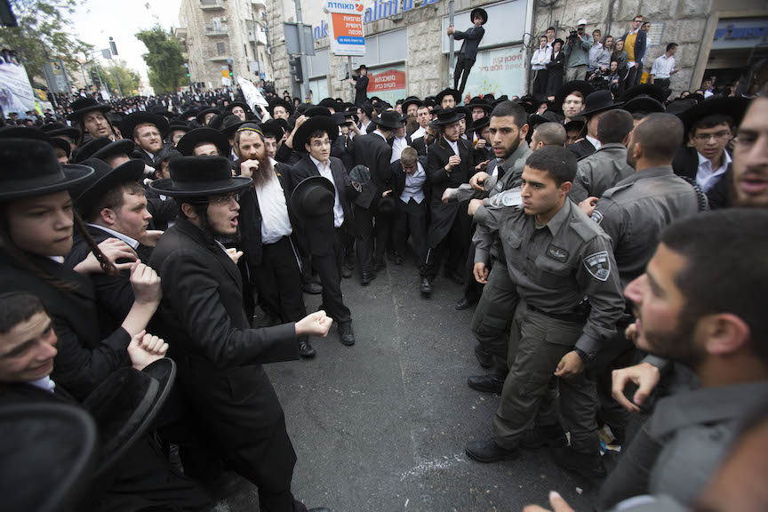 Haredi draft dodgers square off against Israeli police