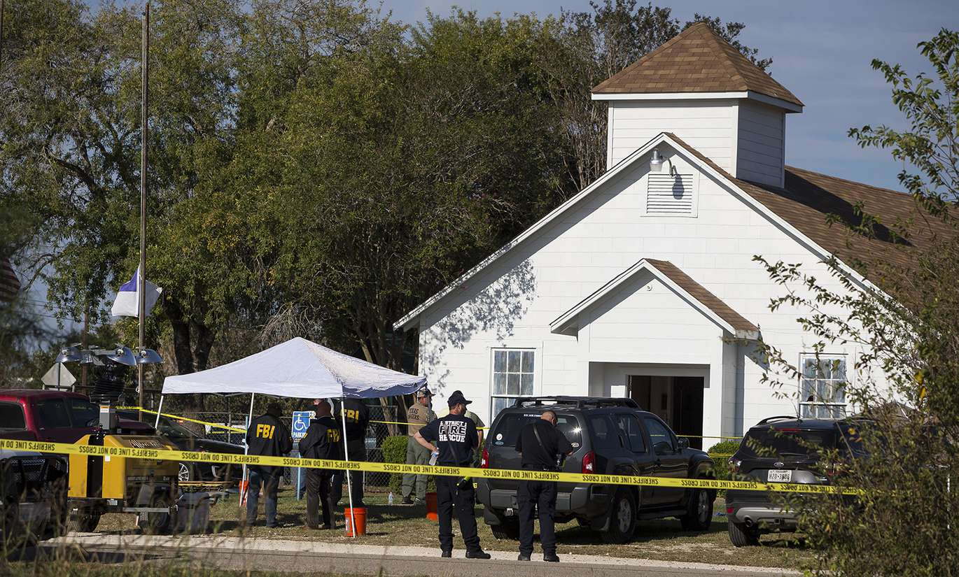 First Baptist Church of Sutherland Springs after mass shooting