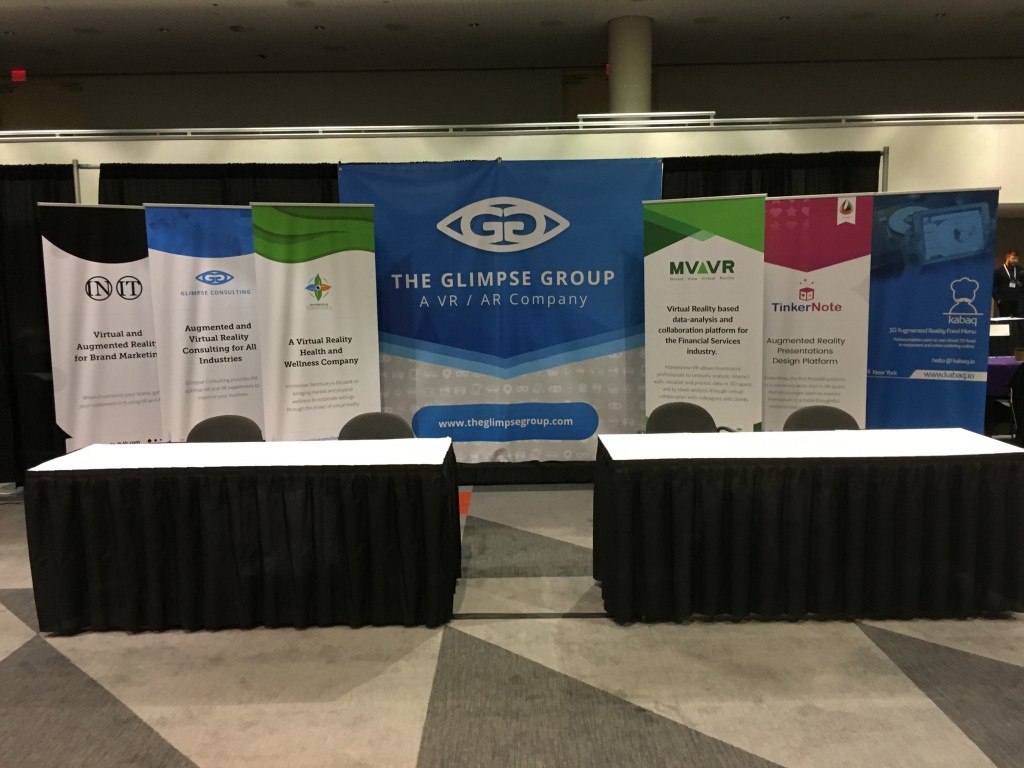 The Glimpse Group's booth at the NYVR Expo, showcasing some of its subsidiaries
