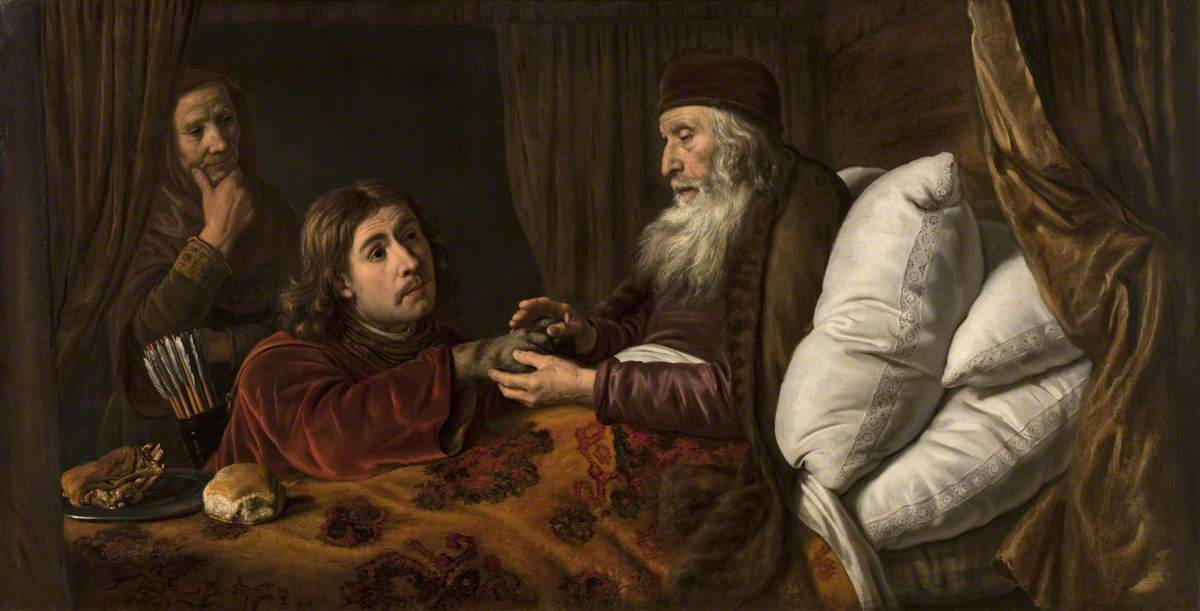 Jacob's Deception (1650), oil on canvas, by Jan Victors (b.1619), currently at Brighton and Hove Museums and Art Galleries