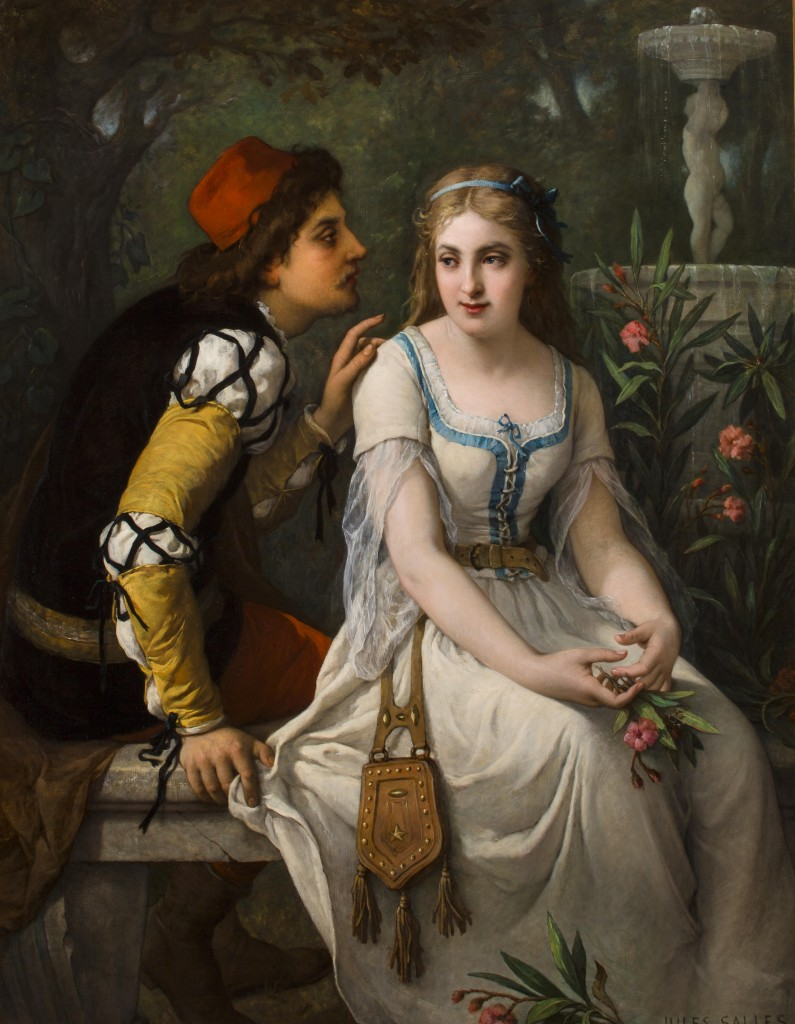 Romeo and Juliet (1898) oil on canvas by French painter, Julius Salles-Wagner (1814-1900)