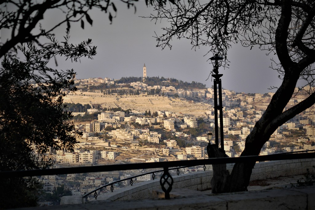 The view of the Mount of Olives and the Church of the Ascension (Shira Pasternak Be'eri)