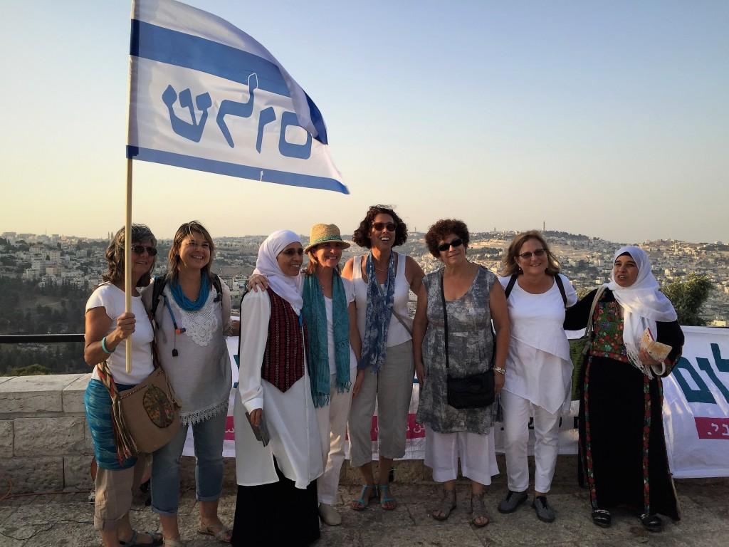 "Jewish and Arab women gather at the Tayelet under the banner ""Women Wage Peace"" (Shira Pasternak Be'eri)"