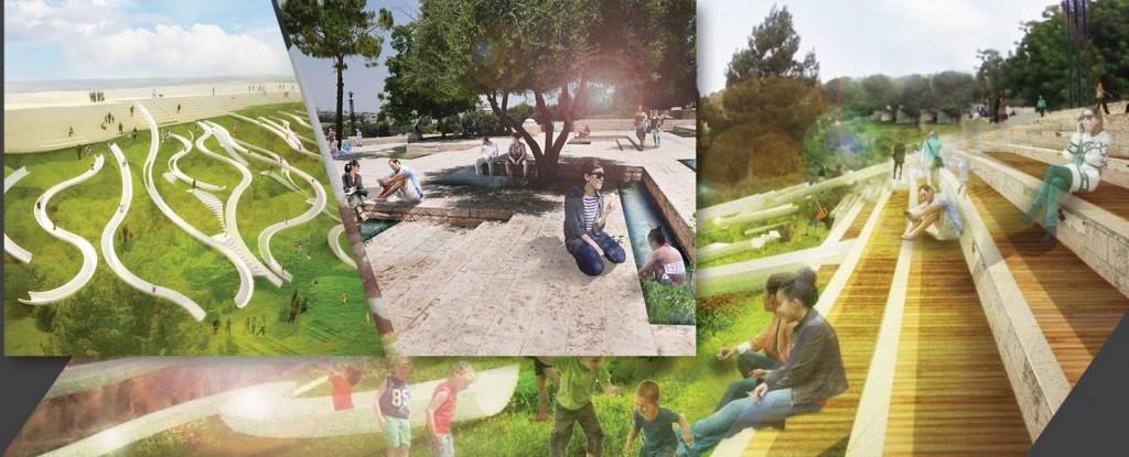 """Artists rendering of the planned renovation of the Haas Promenade (Facebook: מינהל קהילתי תלפ""""ז וארנונה הצעירה)"""