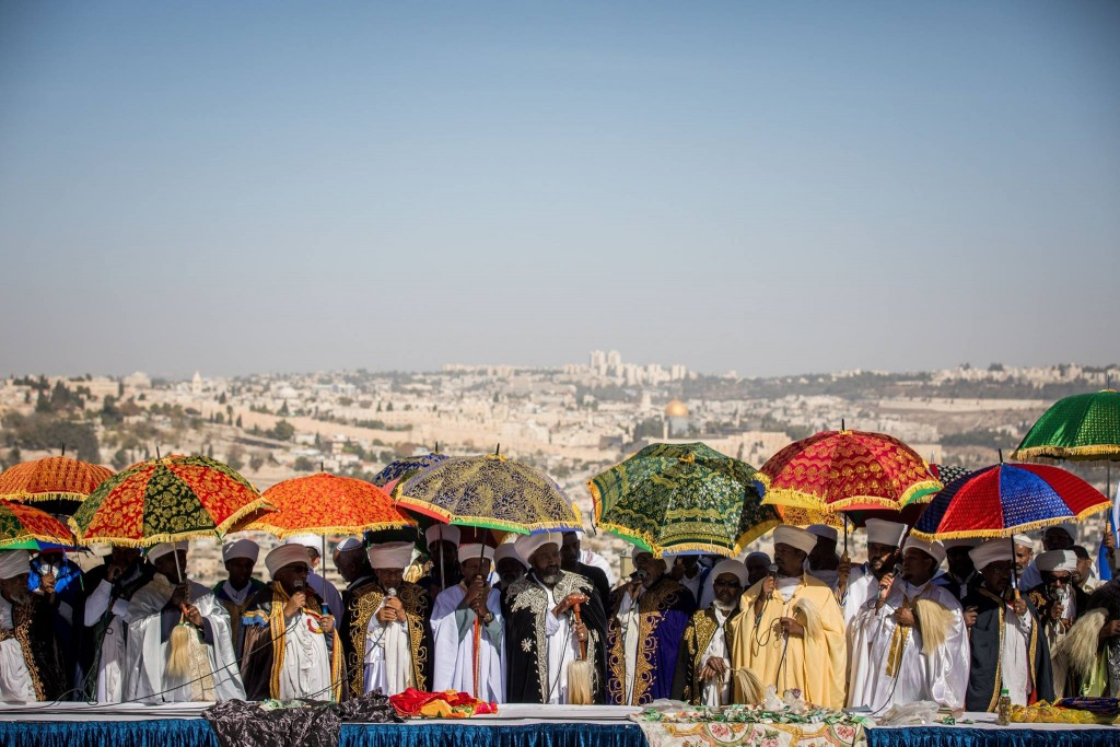 Elders of the Ethiopian Jewish community in Israel lead a prayer of the Sigd holiday on November 16, 2017. The holiday celebrates their community's connection and commitment to Israel. (Flash90/Yonatan Sindel)